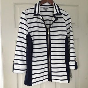 JM Collection 3/4 sleeve zip front cardigan Size S